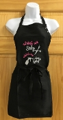 Embroidered Short Black Apron